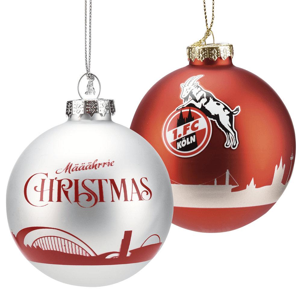 1 FC Köln Weihnachtskugel Skyline rot
