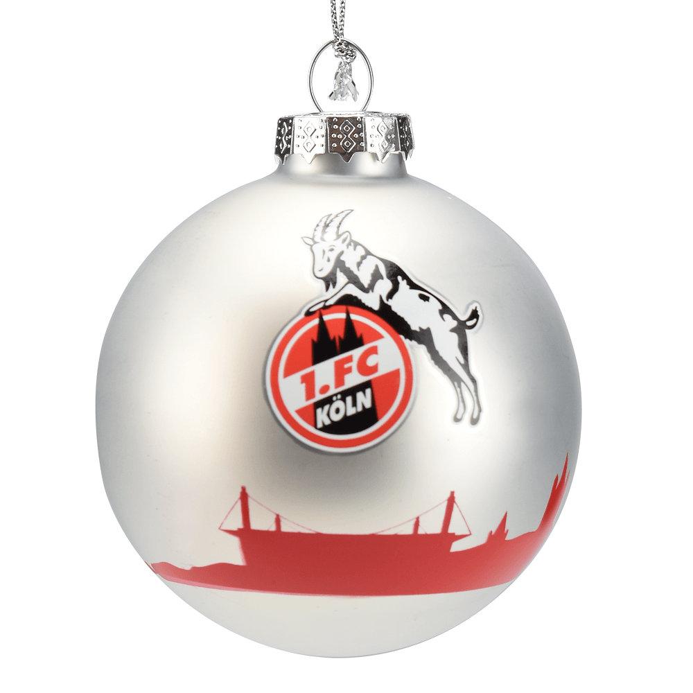 FC Köln Weihnachtskugeln 4er Set 1 silber rot